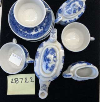 ANTIQUE 13 PIECES OF CHILD'S BLUE WILLOW TEAPOT W/LID, SUGAR BOWL W/LID, 4 TEA CUPS & 4 SAUCERS
