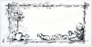 JENNY WREN PRESS STATIONERY The Cool Puppies Have Come. Boy and girl with 5 corgi puppies and mother.