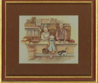 """BECKY'S BIRTHDAY "" FRAMED and MATTED PAGE #14 of Caleb's store. Tasha Tudor"